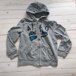 AEROPOSTALE Mens Grey Full Zip Sweater Hoodie